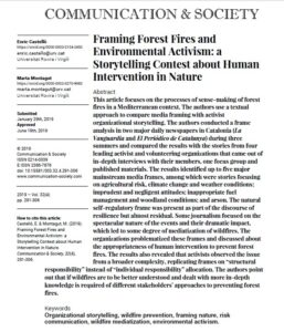 Framing Forest Fires and Environmental Activism: a Storytelling Contest about Human Intervention in Nature